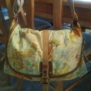 Fossil Map Canvas Crossbody Messenger Purse